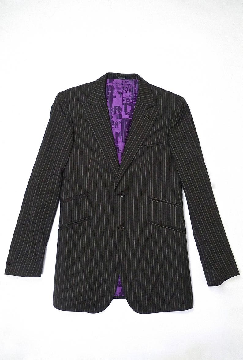 899736cd9 Ted Baker London Brown Pin Stripe Suit Jacket with Purple