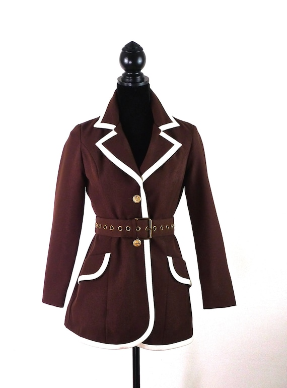 Mod 60s Brown and White Jacket with Rivet Belt and