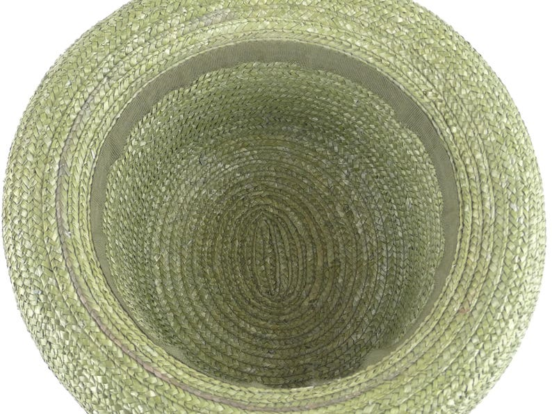 bb3a3dbf37e89 Tall Olive Green Straw Hat with Rolled Brim Vintage