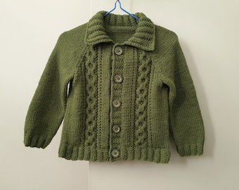 Hand knitted olive green cardigan for boy 6 to 12 months, soft collared sweater with cables, boy handknits, handmade baby boy clothes