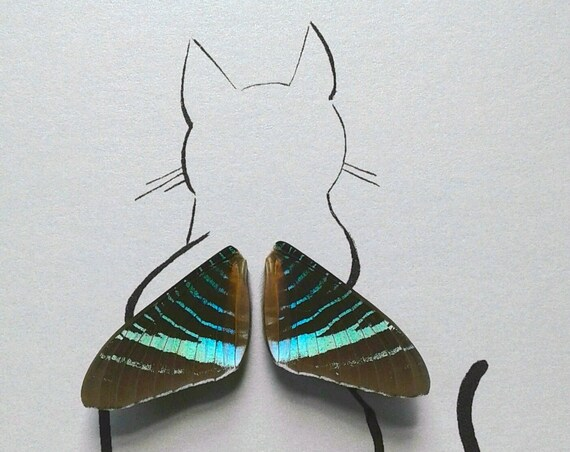 Cat Sitting with Real Butterfly Wings Framed Art - Disabled Veteran Made Frame - Ink Illustrations by Holly Ulm