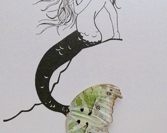Mermaid on Rock with Real Butterfly Wings Framed Art - Disabled Veteran Made Frame - Ink Illustrations by Holly Ulm