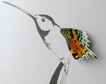 Realistic Hummingbird with Real Butterfly Wing Framed Art - Disabled Veteran Made Frame - Ink Illustrations by Holly Ulm