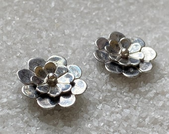 Native American Handmade Vintage Indigenous Sterling Silver Dimensional Flower Earrings with Post Backs