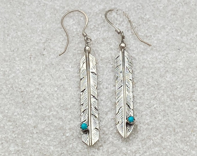 Native American Handmade Vintage Indigenous Sterling Silver and Turquoise Feather Dangle Earrings