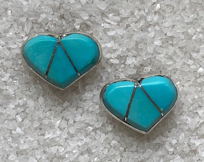 Native American Handmade Vintage Indigenous Sterling Silver and Turquoise Heart Earrings
