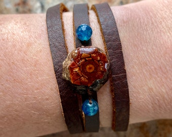 Real Jack Pine Cone Leather Bracelet Wrap or Choker Necklace