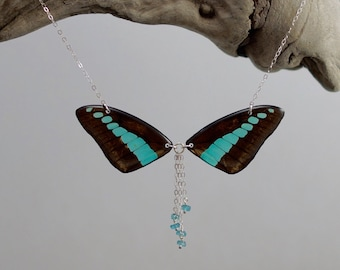 Real Graphium sarpedon Wings Half Butterfly Necklace With Options