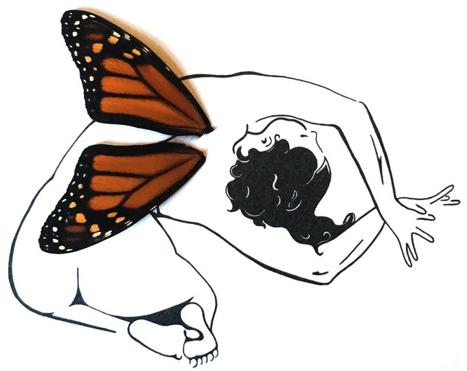 Nude Real Butterfly Wings Framed Art - Disabled Veteran Made Frame - Ink Illustrations by Holly Ulm