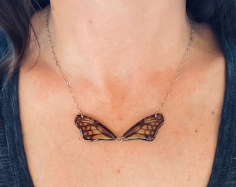 Real Butterfly Wing Bow-tie Necklace, Smaller Wood Nymph (Ideopsis gaura), sterling silver cable chain