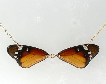 Real Danaus chrysippus Wings Half Butterfly Necklace With Options