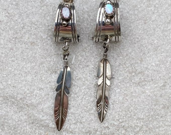 Native American Indian Handmade Vintage Indigenous Sterling Silver and Iridescent Pink Mother of Pearl Earrings
