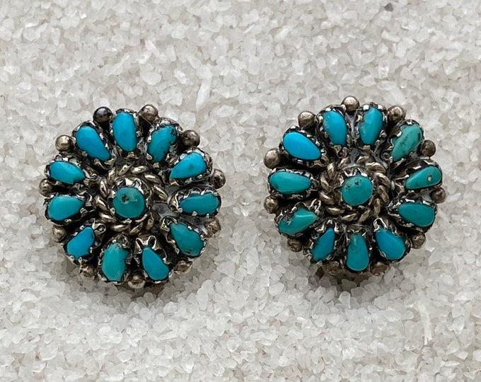 Native American Handmade Vintage Indigenous Sterling Silver Turquoise Clip-on Earrings for non-pierced ears