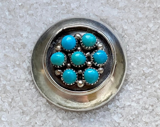 Native American Handmade Vintage Indigenous Sterling Silver Abstract Turquoise Convertible Pin and Pendant