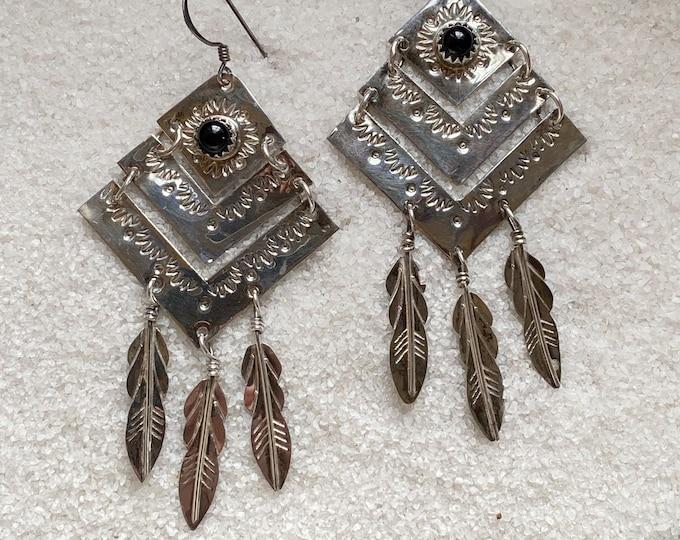 Native American Handmade Vintage Indigenous Sterling Silver and Onyx Earrings