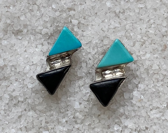 Native American Handmade Vintage Indigenous Sterling Silver, Onyx and Turquoise Triangles Earrings