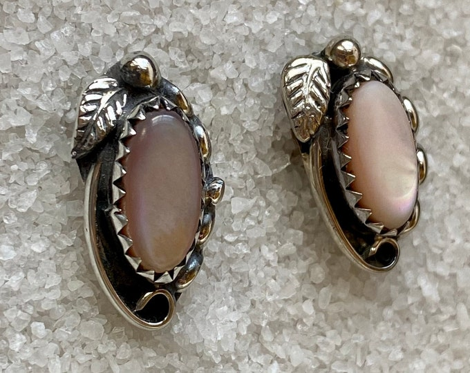 Native American Handmade Vintage Indigenous Sterling Silver and Iridescent Pink Mother of Pearl Earrings
