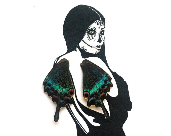 Sugar Skull Real Butterfly Wings Framed Art - Disabled Veteran Made Frame - Ink Illustrations by Holly Ulm