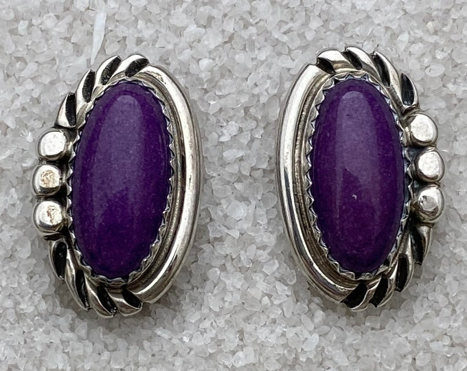 Native American Handmade Vintage Indigenous Sterling Silver Sugilite Clip-on Earrings for non-pierced ears