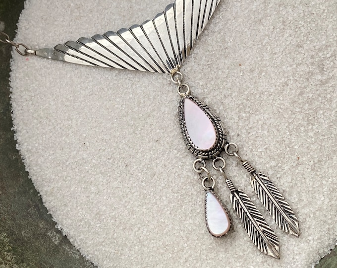 Native American OOAK Statement Necklace Handmade Vintage Indigenous Sterling Silver and Iridescent Pink Mother of Pearl