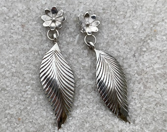 Native American Handmade Vintage Indigenous Sterling Silver Flower and Leaf Earrings with Post Backs