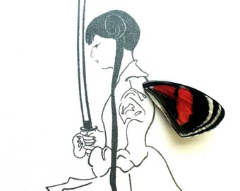 Girl with Sword Real Butterfly Wing Framed Art - Disabled Veteran Made Frame - Ink Illustrations by Holly Ulm