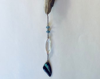 Real Graphium sarpedon (Blue Bottle) Butterfly Suncatcher with Swarovski crystal and Mississippi River driftwood