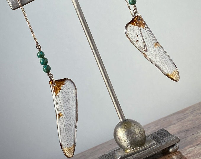 Real dragonfly wing earrings turquoise sterling silver ear thread