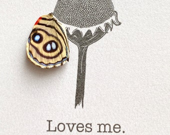 Loves Me Real Butterfly Wing Framed Art - Disabled Veteran Made Frame - Ink Illustrations by Holly Ulm