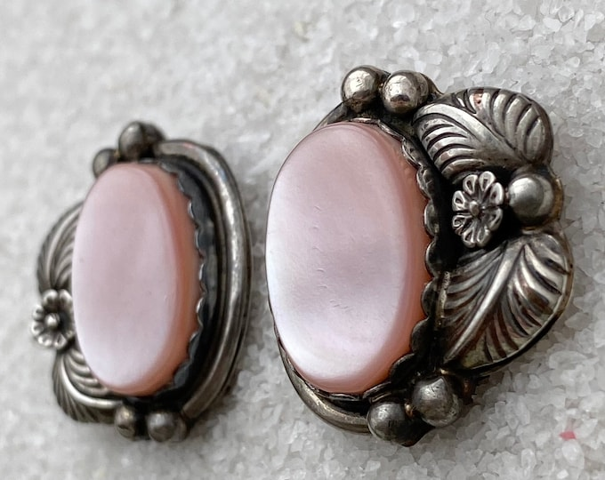Native American Handmade Vintage Indigenous Sterling Silver Pink Mother of Pearl Clip-on Earrings for non-pierced ears
