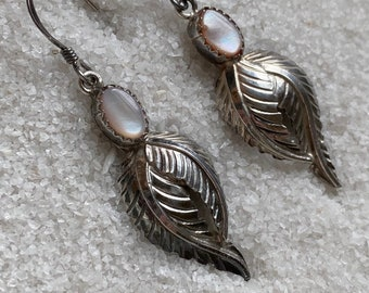 Native American Handmade Vintage Indigenous Sterling Silver Pink Mother of Pearl with Leaves Hook Earrings