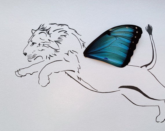 Manticore Lion with Real Butterfly Wing Framed Art - Disabled Veteran Made Frame - Ink Illustrations by Holly Ulm