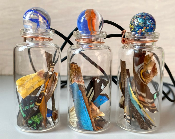 Real Butterfly Wing Confetti Necklace Medium Jar Ethically Sourced Funds Conservation
