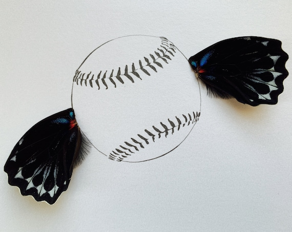 Fly Ball Baseball with Real Butterfly Wing Framed Art - Disabled Veteran Made Frame - Ink Illustrations by Holly Ulm