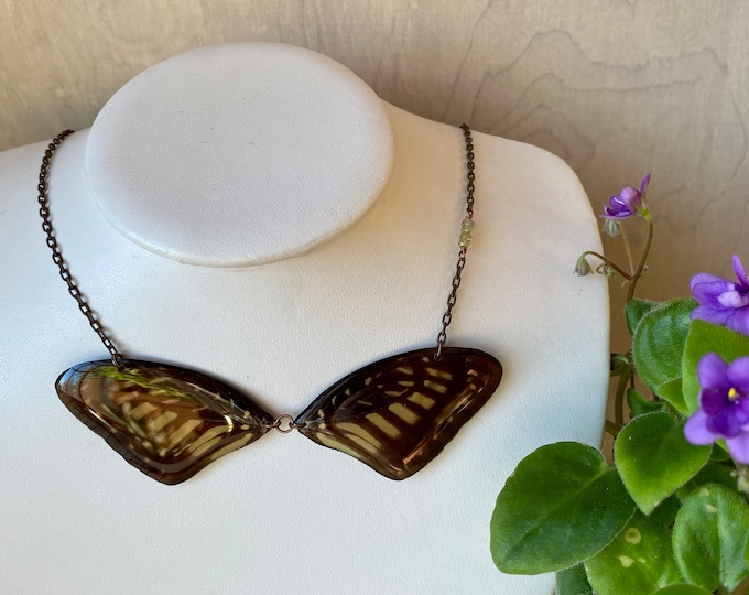 Real Butterfly Wing Necklace Graphium xenocles with green garnet copper ethically sourced funds conservation gold chain
