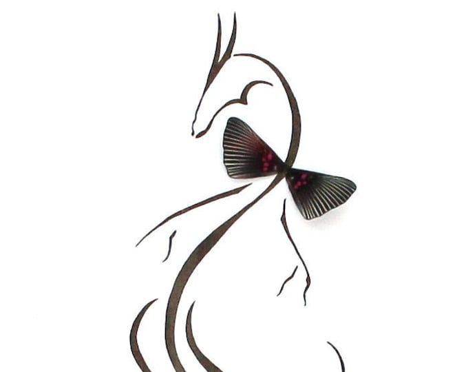 Dragon Real Butterfly Wings Art Disabled Veteran Made Frame Illustration by Holly Ulm