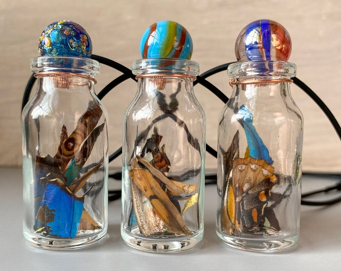 Real Butterfly Wing Confetti Necklace Small Jar Ethically Sourced Funds Conservation