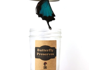 Perfect Gift Necklace - Real Butterfly Wing - Blue Mountain Butterfly - Papilio ulysses - With Gift Jar Packaging