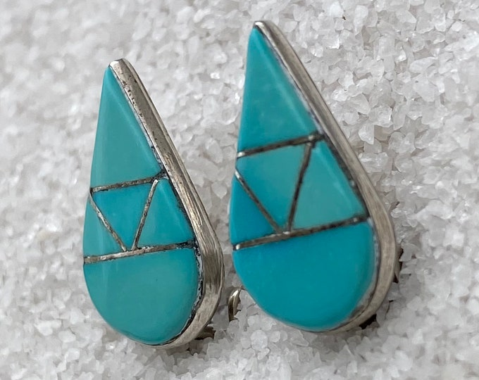 Native American Handmade Vintage Indigenous Sterling Silver Tear Drop Turquoise Clip-on Earrings for non-pierced ears