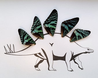 Stegosaurus Real Butterfly Wing Framed Art - Disabled Veteran Made Frame - Ink Illustrations by Holly Ulm