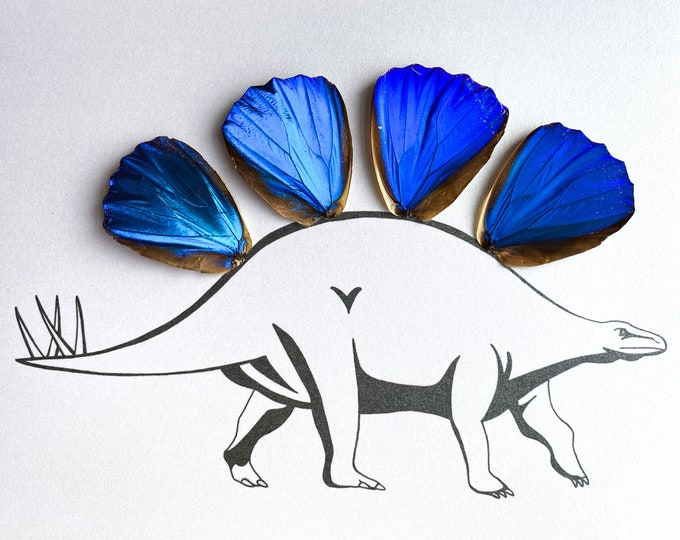 Dinosaur Real Butterfly Wing Art Disabled Veteran Made Frame Illustrations by Holly Ulm