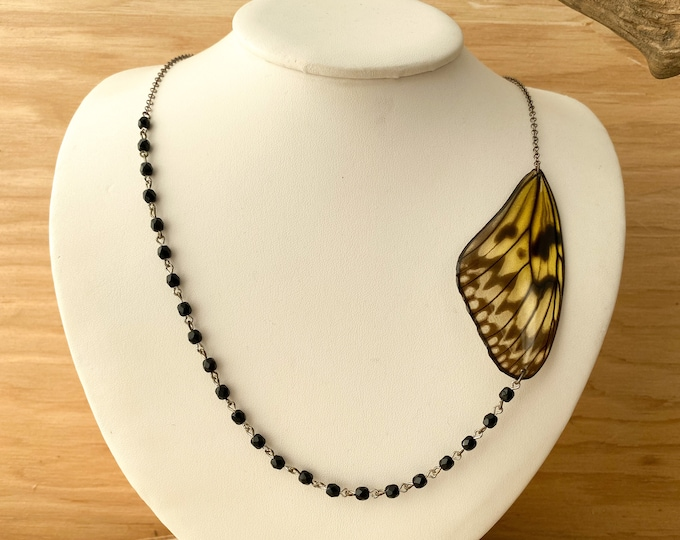 Paper Kite Asymmetrical Butterfly Necklace sterling silver onyx real wings ethically sourced