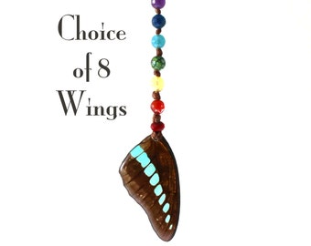 Real Butterfly Wing Beaded Sun Catcher - Drape or Curtain tie - Napkin Ring - Rearview Mirror - Choice of 8 Wings