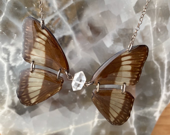 Real Butterfly Zethera pimplea Wings Sterling Silver Doubke Terminated Quartz