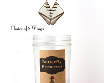 Perfect Gift Earrings - Real Butterfly Wing Earrings - Choice of 8 - with hypoallergenic surgical steel french hook