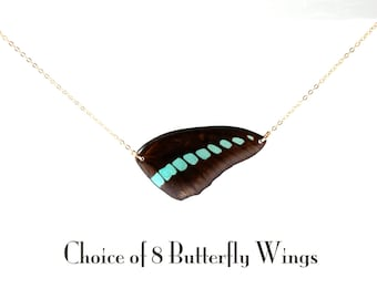 Gold Real Butterfly Wing Necklace - Choice of 8 Butterfly Wings - Wing Hung Inline