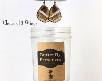 Perfect Gift Earring  - Real Butterfly Wing Earrings - Choice of 3 - with hypoallergenic surgical steel french hook