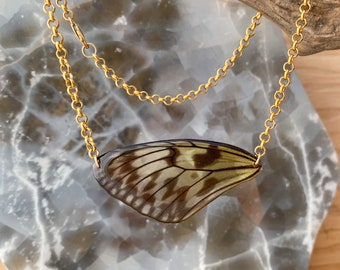 Paper Kite Butterfly Necklace Gold real wings ethically sourced