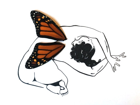 Woman Fairy with Real Butterfly Wings Framed Art - Disabled Veteran Made Frame - Ink Illustrations by Holly Ulm