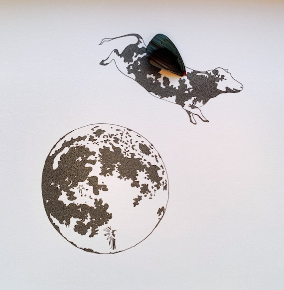 Cow Jumping Over the Moon with Real Butterfly Wing Framed Art - Disabled Veteran Made Frame - Ink Illustrations by Holly Ulm